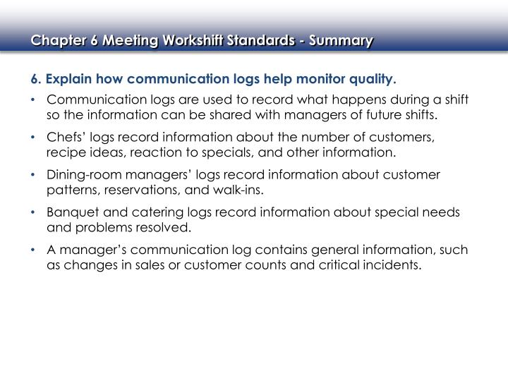 6. Explain how communication logs help monitor quality.