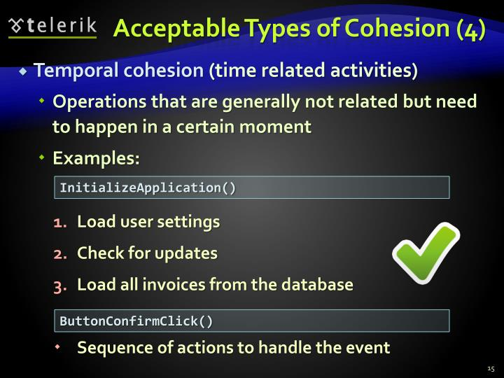 Acceptable Types of Cohesion (4)