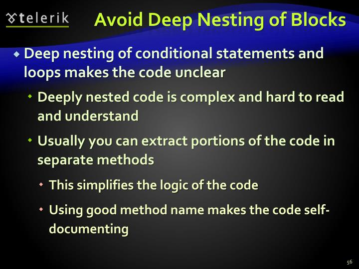 Avoid Deep Nesting of Blocks
