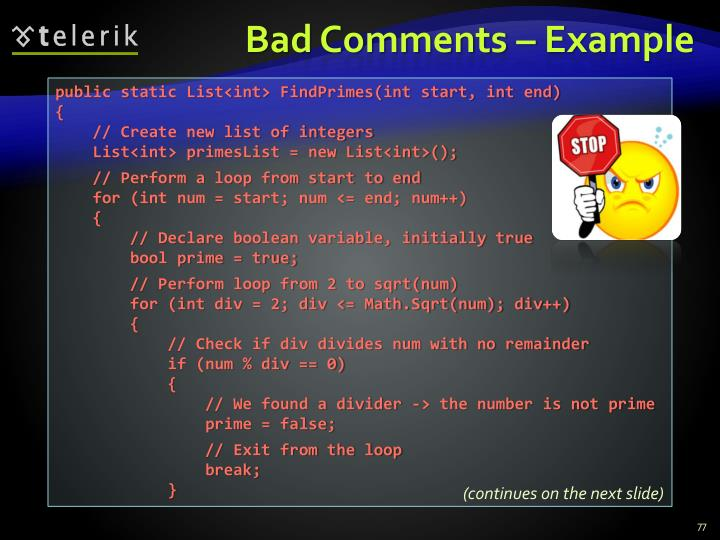 Bad Comments – Example