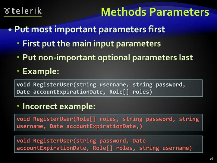 Methods Parameters