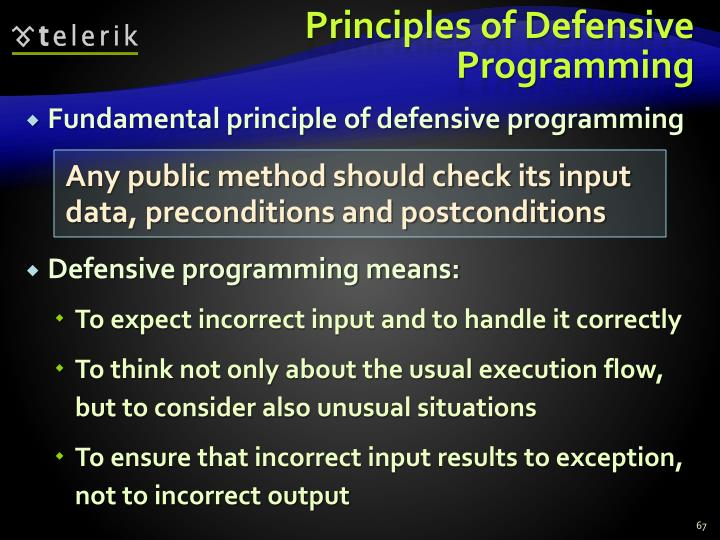Principles of Defensive Programming
