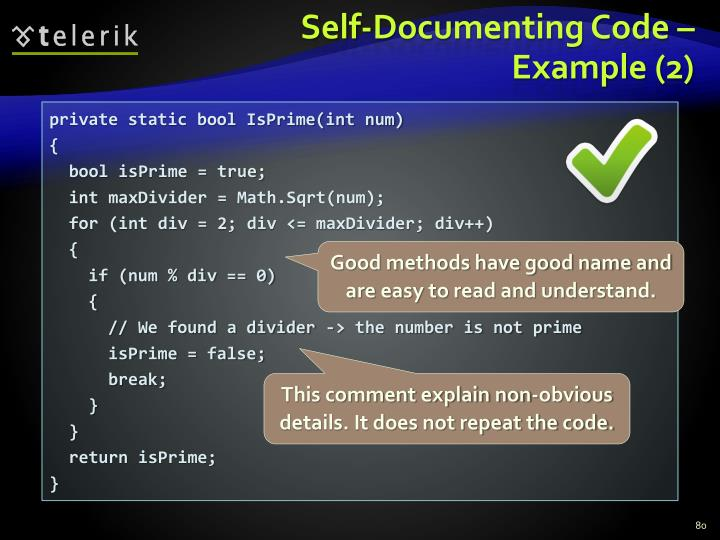 Self-Documenting Code –