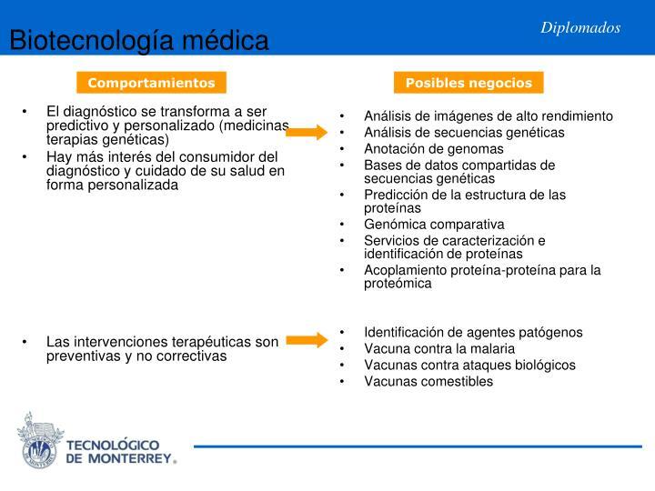 El diagnóstico se transforma a ser predictivo y personalizado (medicinas terapias genéticas)