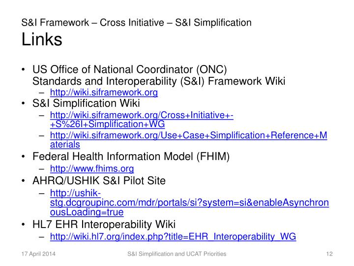 S&I Framework – Cross Initiative – S&I Simplification