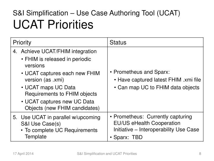 S&I Simplification – Use Case Authoring Tool (UCAT)