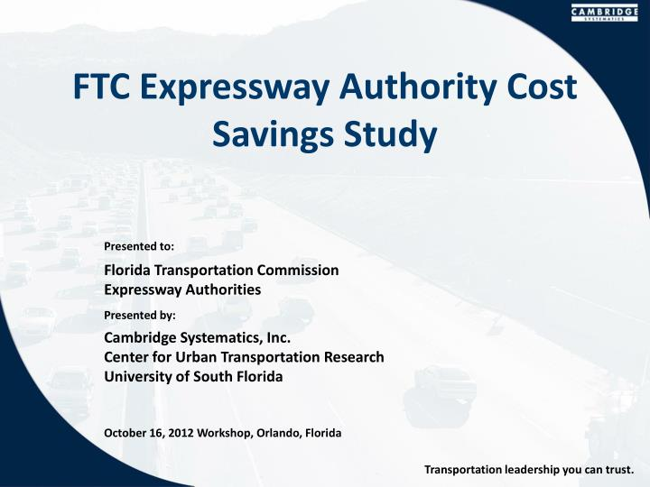 Ftc expressway authority cost savings study