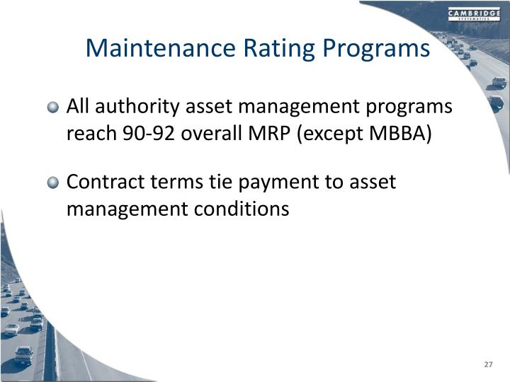 Maintenance Rating Programs