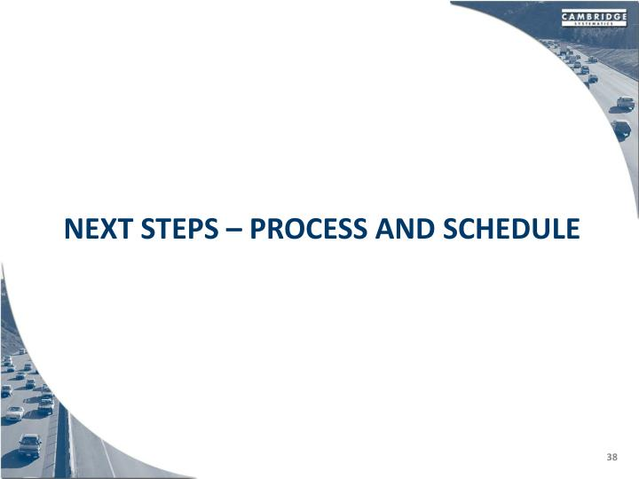 Next Steps – process and schedule