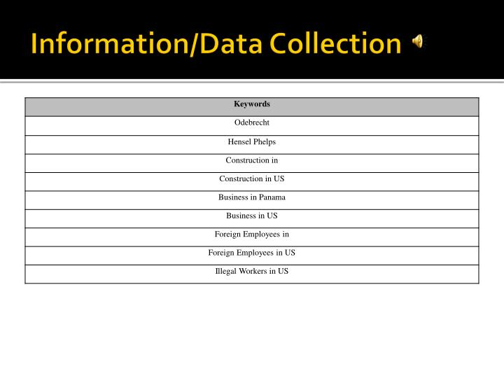 Information/Data Collection