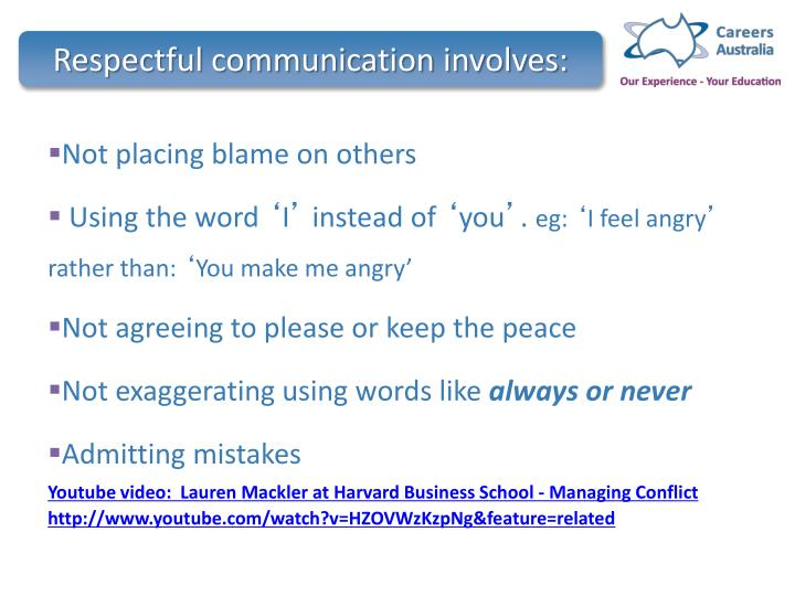 Respectful communication involves: