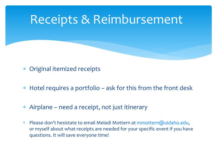 Receipts & Reimbursement
