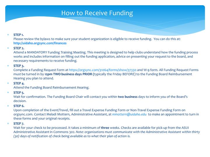 How to Receive Funding