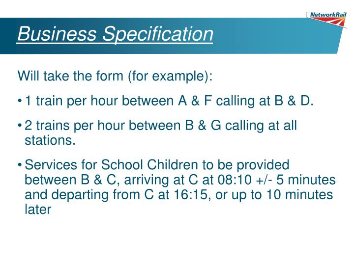 Business Specification