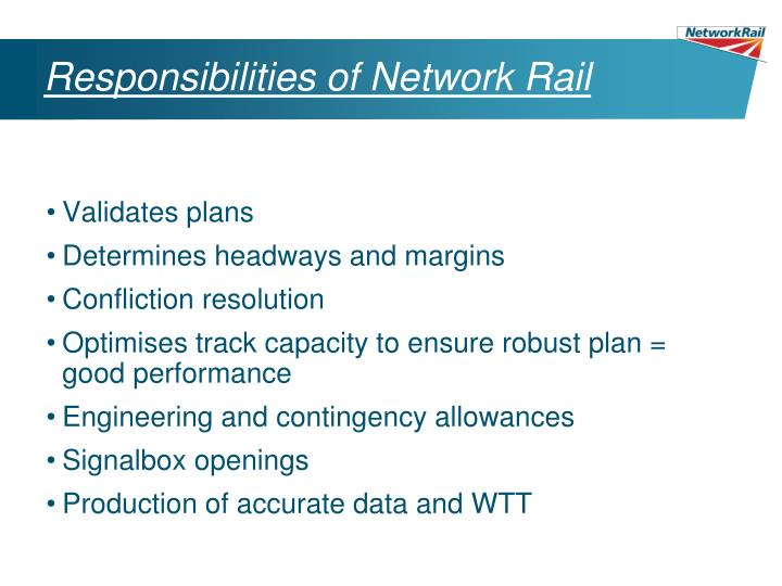 Responsibilities of Network Rail
