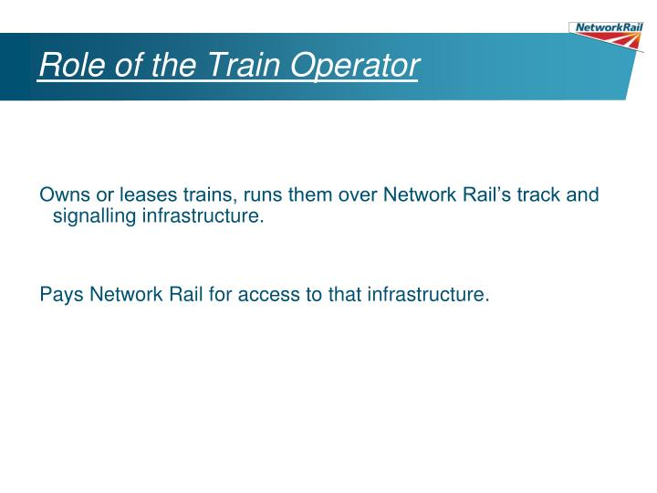 Role of the Train Operator