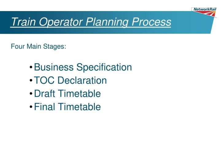 Train Operator Planning Process