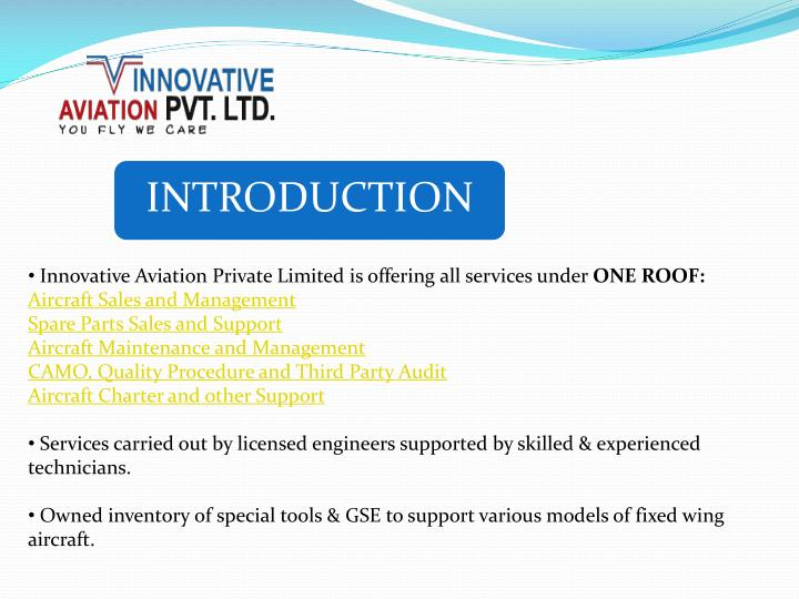 Innovative Aviation Private Limited is offering all services under