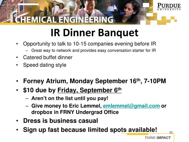IR Dinner Banquet
