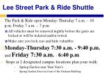 lee street park ride shuttle
