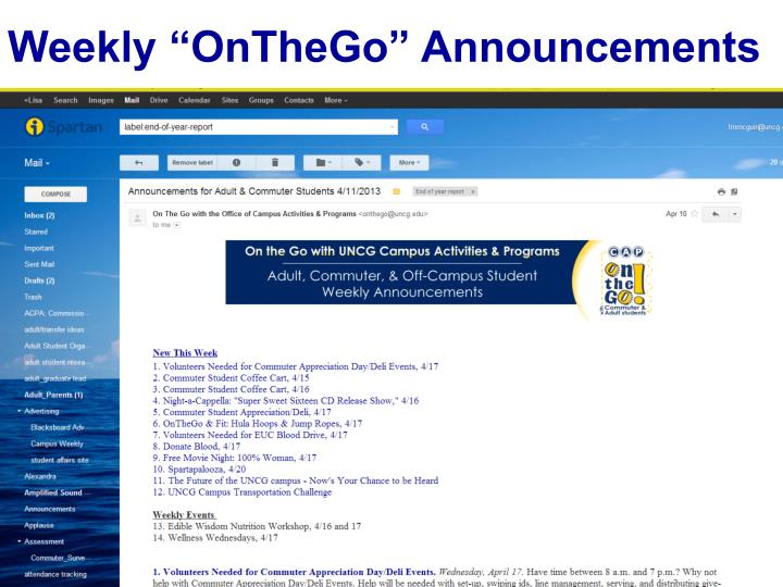 "Weekly ""OnTheGo"" Announcements"