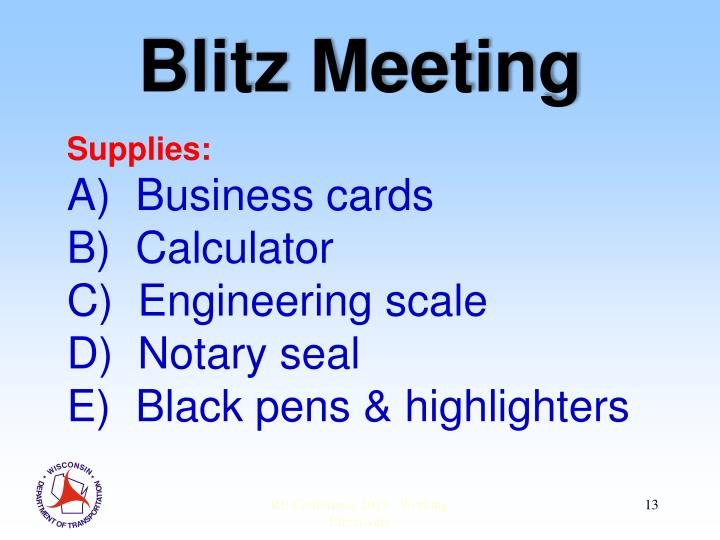 Blitz Meeting
