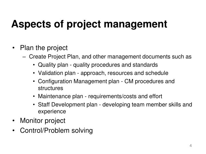 Aspects of project management
