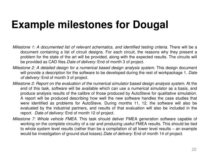Example milestones for Dougal