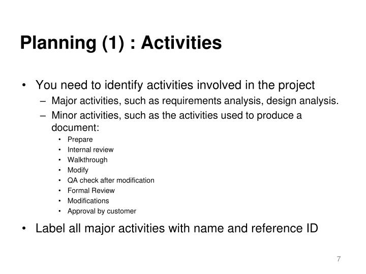 Planning (1) : Activities