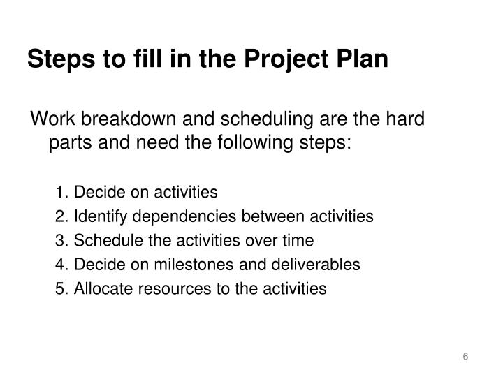 Steps to fill in the Project Plan