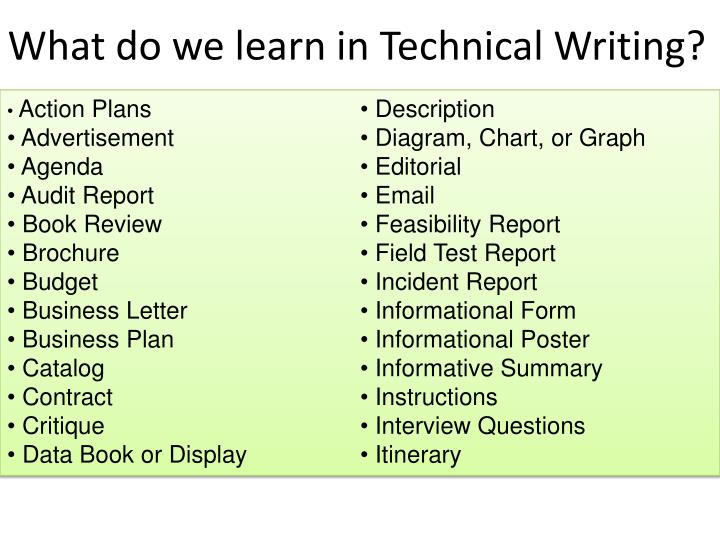 What do we learn in Technical Writing?
