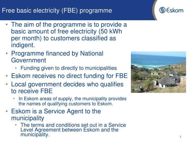 Free basic electricity (FBE) programme