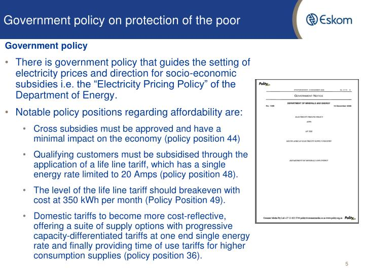 Government policy on protection of the poor