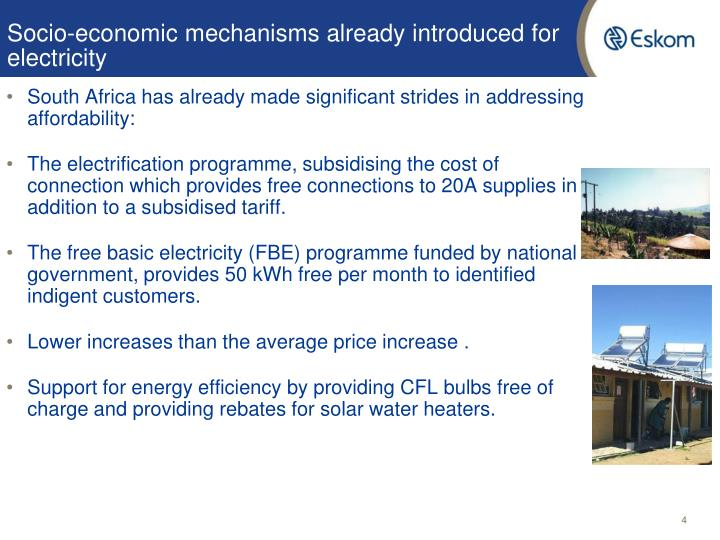 Socio-economic mechanisms already introduced for electricity
