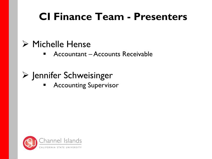 CI Finance Team - Presenters