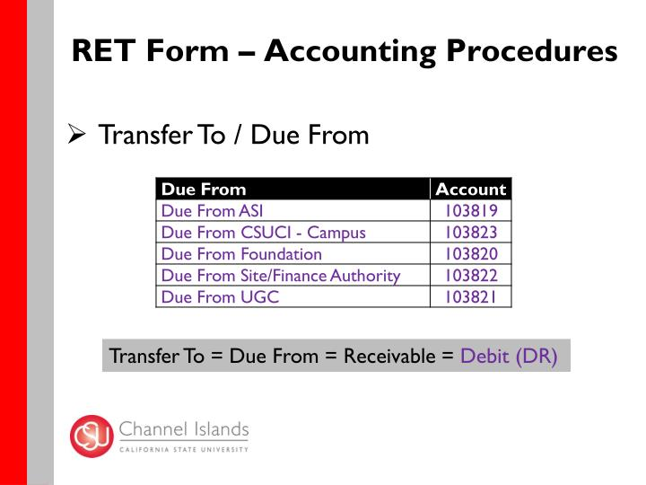 RET Form – Accounting Procedures