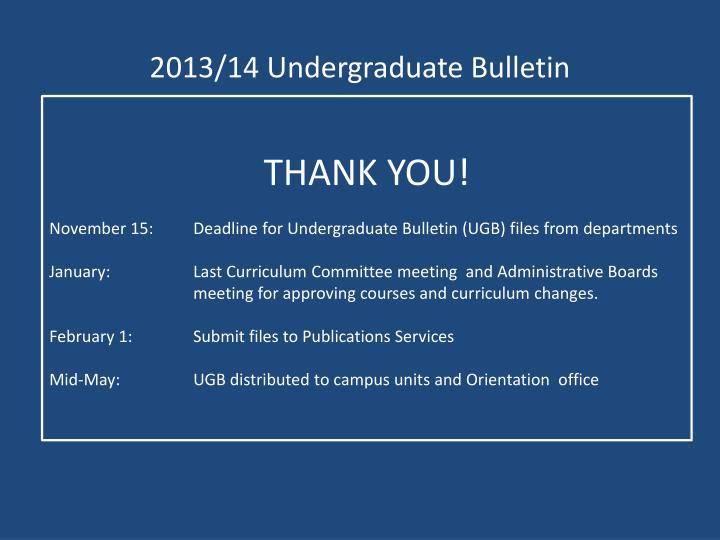 2013/14 Undergraduate Bulletin