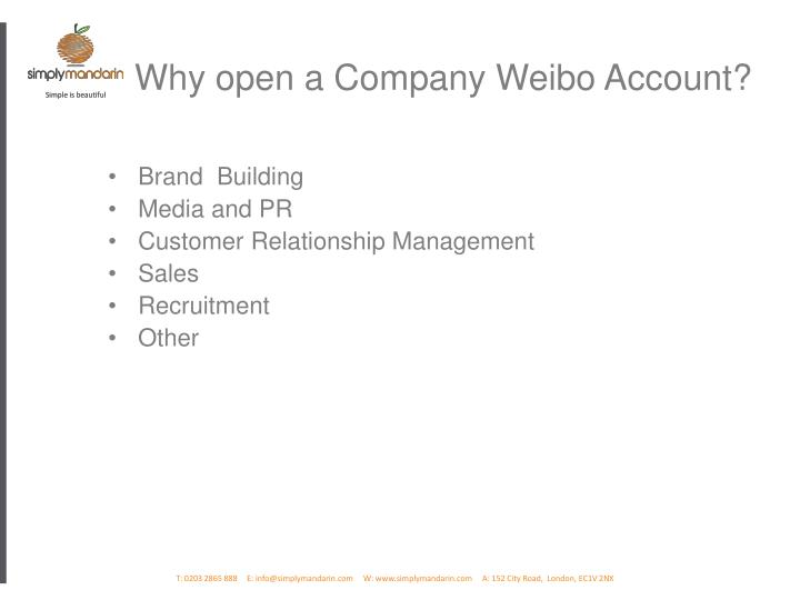 Why open a Company Weibo Account