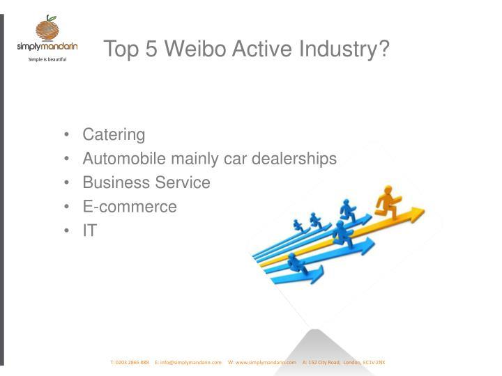 Top 5 Weibo Active Industry