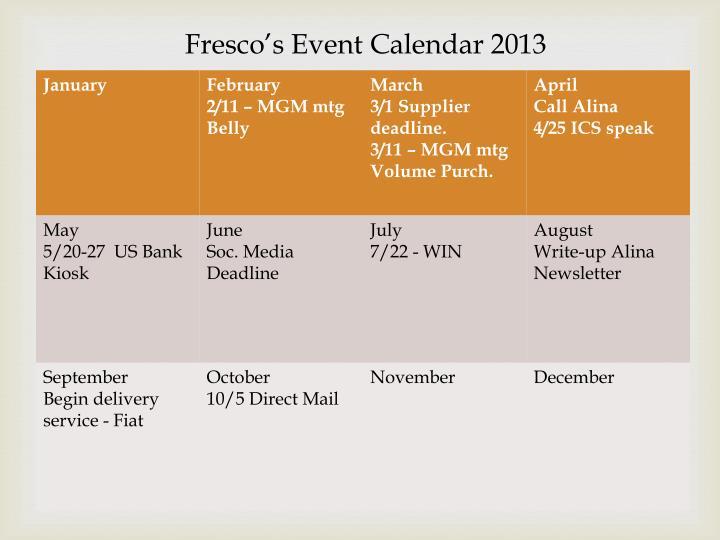 Fresco's Event Calendar 2013