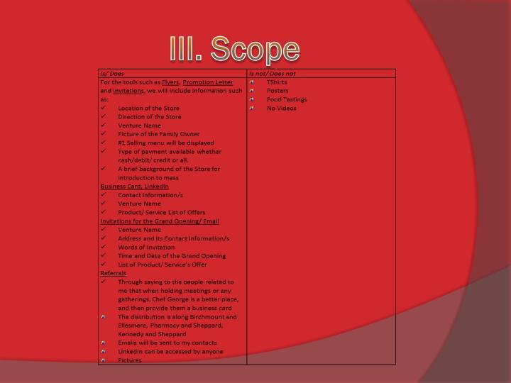 III. Scope