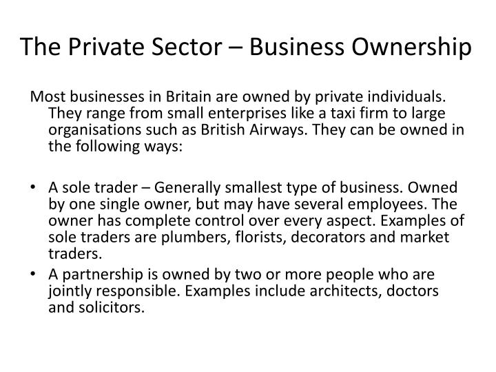 The private sector business ownership