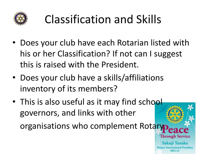Classification and Skills