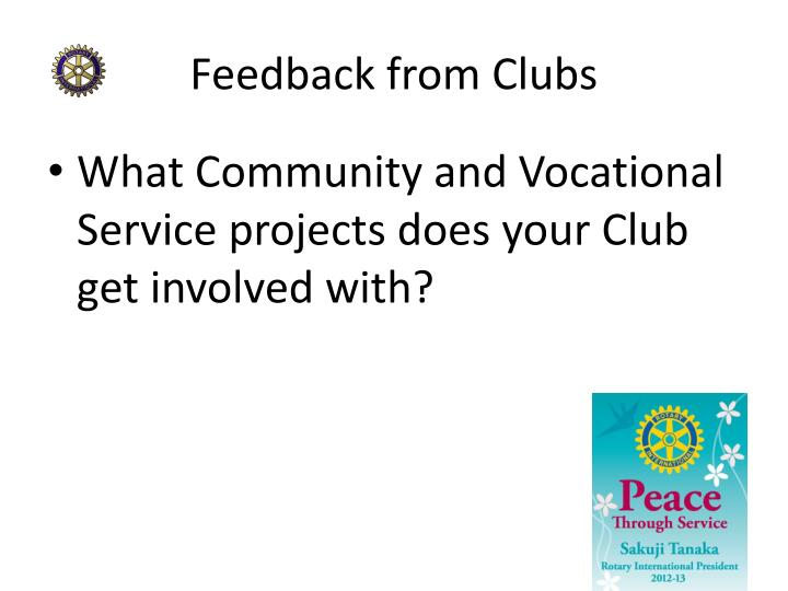 Feedback from Clubs