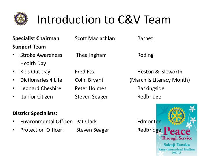 Introduction to c v team