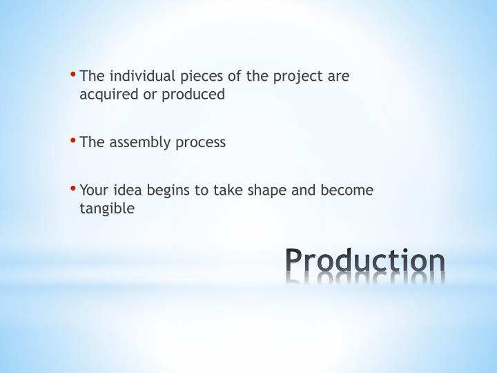 The individual pieces of the project are acquired or produced