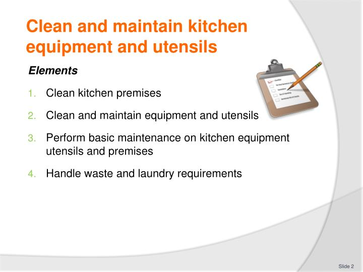 Use And Maintenance Of Kitchen Tools And Equipment