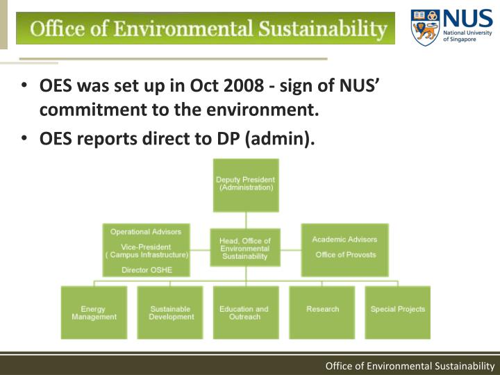 OES was set up in Oct 2008 - sign of NUS' commitment to the environment.