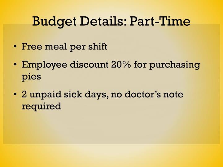 Budget Details: Part-Time