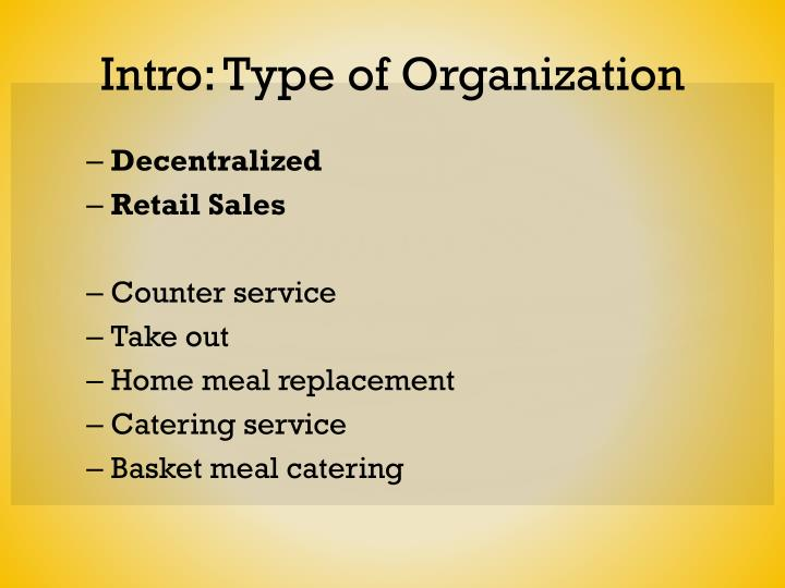Intro: Type of Organization